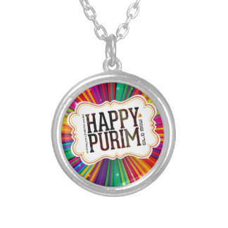 happy purim silver plated necklace