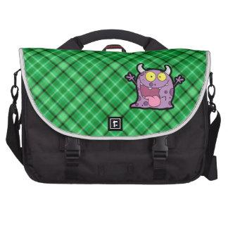 Happy Purple Monster; Green Laptop Messenger Bag