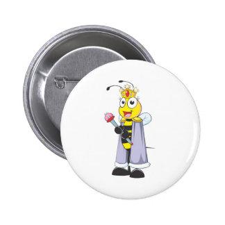 Happy Queen Bee Pinback Buttons
