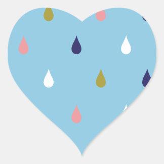 Happy rain drops heart sticker
