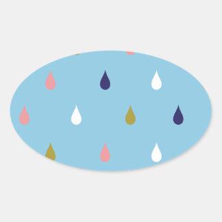 Happy rain drops oval sticker