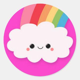 Happy Rainbow Cloud on Hot Pink Round Sticker