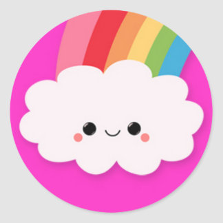 Happy Rainbow Cloud on Hot Pink Sticker