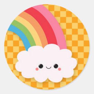 Happy Rainbow Cloud on Orange Checks Round Sticker