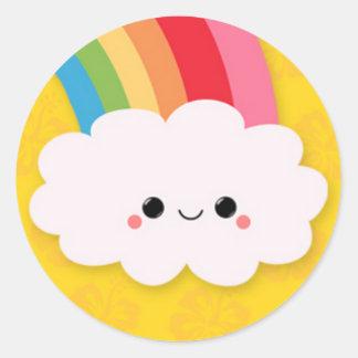 Happy Rainbow Cloud on Yellow Classic Round Sticker