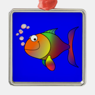 Happy Rainbow Fish Christmas Ornament