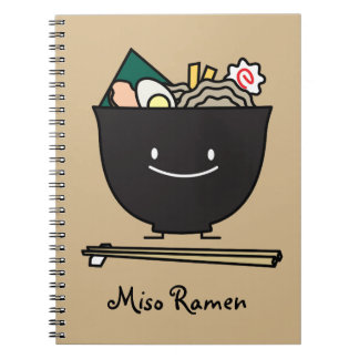Happy Ramen Bowl Spiral Note Books
