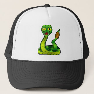 Happy rattlesnake trucker hat