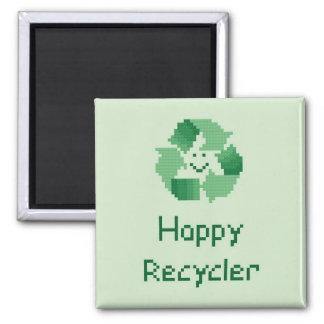 Happy Recycler Cross Stitch Pattern Magnet