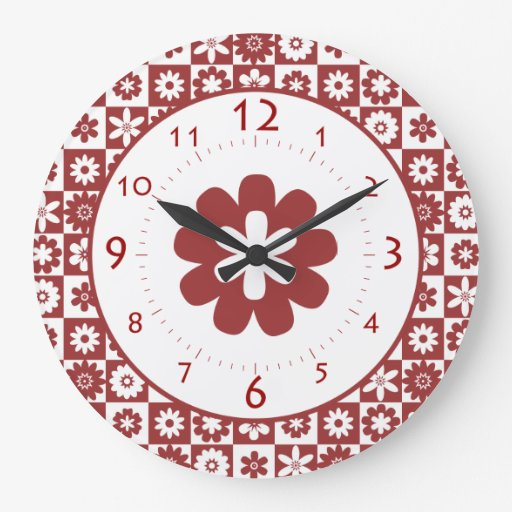 Happy Red and White American Country Farm Kitchen Wallclocks