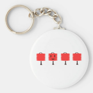 Happy Red Lanterns Basic Round Button Key Ring
