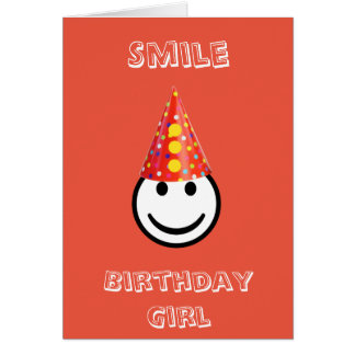 Happy Red Smile Birthday Girl Card