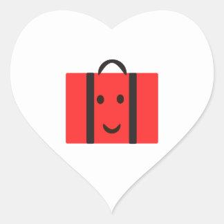happy Red suitcase Heart Sticker