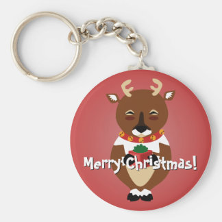 Happy Reindeer Keychain Basic Round Button Keychain