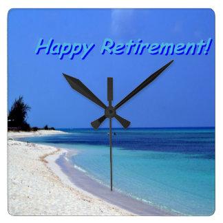 Happy Retirement - Blue sky, blue ocean Square Wall Clock