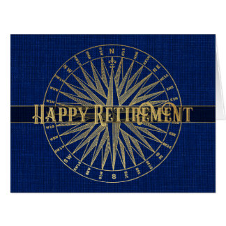 Happy Retirement Gold Compass Card