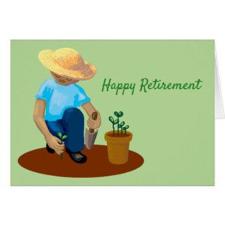 Happy Retirement man gardening growing flowers Card