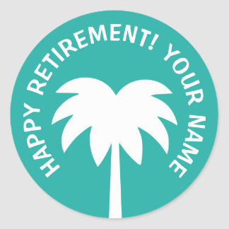 Happy Retirement palm tree stickers   Personalize