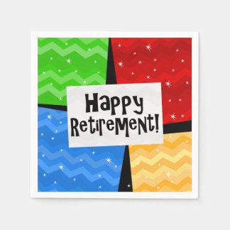 Happy Retirement, Primary Color Squares Party Paper Napkins