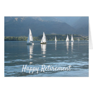 Happy Retirement sailboats on a lake Card