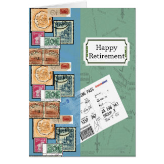 Happy Retirement Stamps of the World Note Card