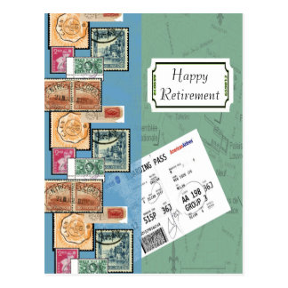 Happy Retirement Stamps of the World Postcards