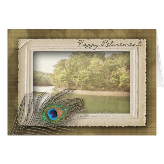 HAPPY RETIREMENT - VINTAGE LAKE SCENE CARD