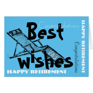 Happy Retirement with Retro Deckchair Blue 2 Greeting Card
