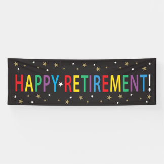 Happy Retirement with stars and bright colors Banner