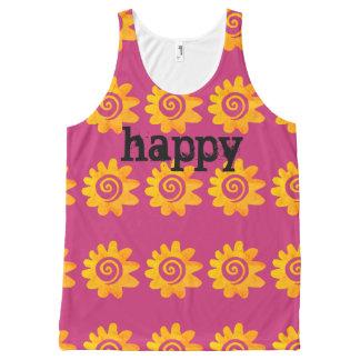 Happy Retro orange flower All-Over Print Singlet