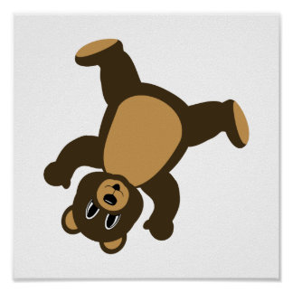 Happy Right Tumbling Brown Bear Posters