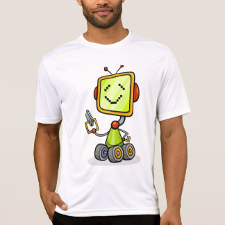 Happy Robot On Wheels Mens Active Tee
