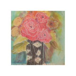 Happy Roses Wood Wall Decor