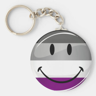 Happy Round Asexual Flag Key Ring
