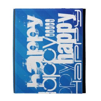 Happy; Royal Blue Stripes iPad Cases
