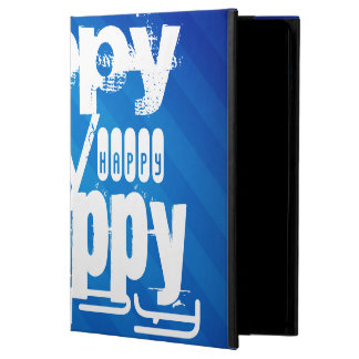 Happy; Royal Blue Stripes iPad Air Cover
