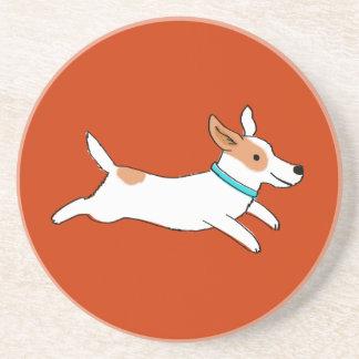 Happy Running Jack Russell Terrier Cartoon Dog Coaster