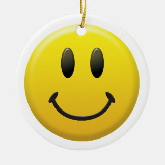 Happy / Sad Smiley Face Double-Sided Ceramic Round Christmas Ornament
