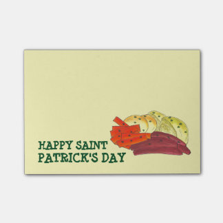 Happy Saint Patrick's Day Corned Beef and Cabbage Post-it® Notes