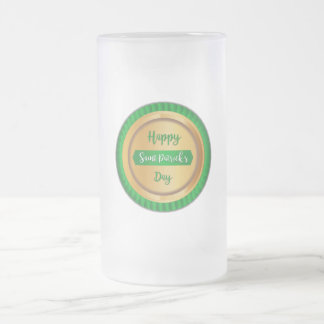 Happy Saint Patrick's Day Faux Golden Badge Frosted Glass Beer Mug