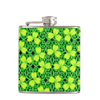 Happy Saint Patrick's Day, Three Leaf Clovers Flask