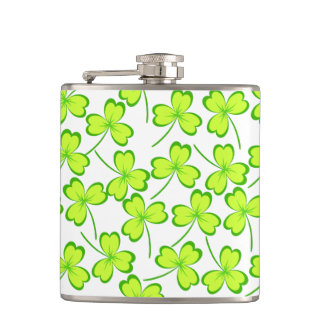 Happy Saint Patrick's Day, Three Leaf Clovers Hip Flask