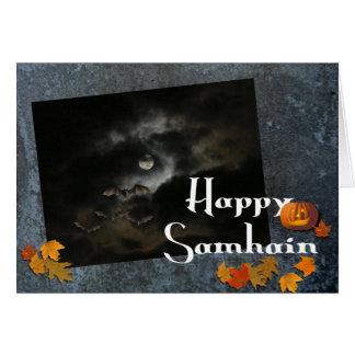 Happy Samhain-Full Moon/Fall Leaves Greeting Card