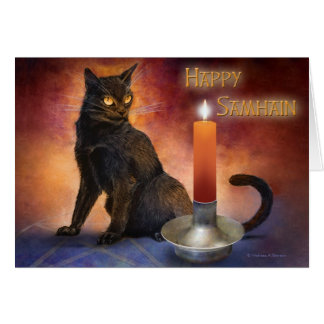 Happy Samhain Kitten and Candle. Card