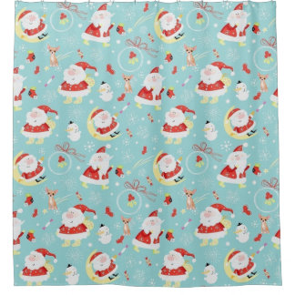 Happy Santa And Frosty And Chihuahua Shower Curtain