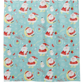 Happy Santa And Frosty Shower Curtain