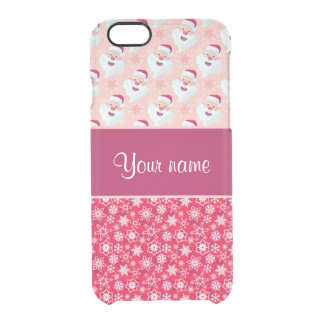 Happy Santa and Snowflakes Personalized Clear iPhone 6/6S Case