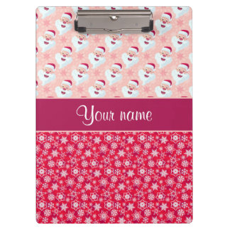 Happy Santa and Snowflakes Personalized Clipboard
