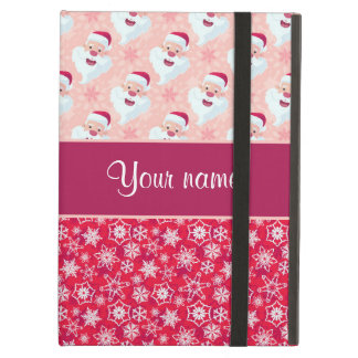 Happy Santa and Snowflakes Personalized iPad Air Cover