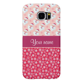 Happy Santa and Snowflakes Personalized Samsung Galaxy S6 Cases